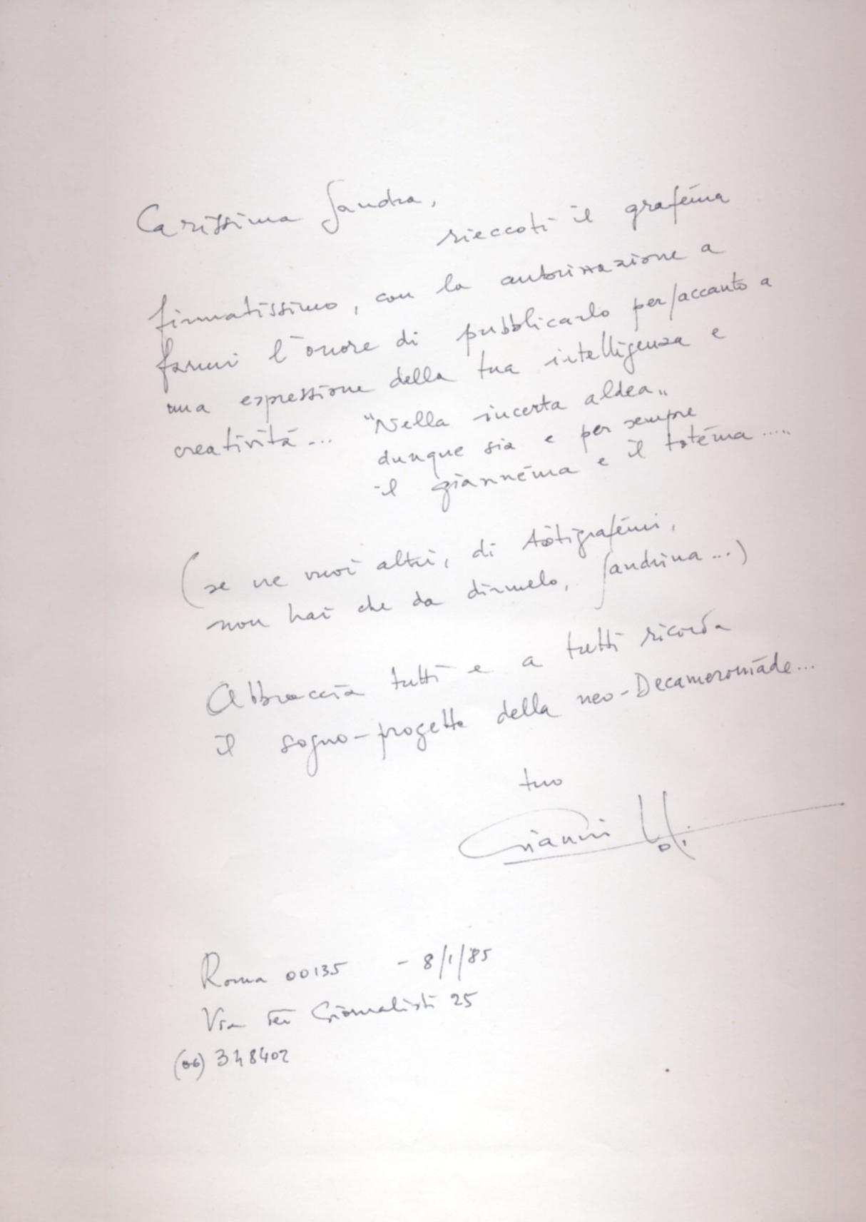 Testo autografo di Gianni Toti